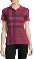 Burberry Check Short-Sleeve Polo Shirt, Peony Rose