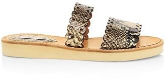 Tabitha Simmons Akela Flat Python-Embossed Leather Sandals