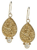 "Mother of Pearl QVC 1-1/2"" Teardrop Drusy with Accent Dangle Earrings, 14K"