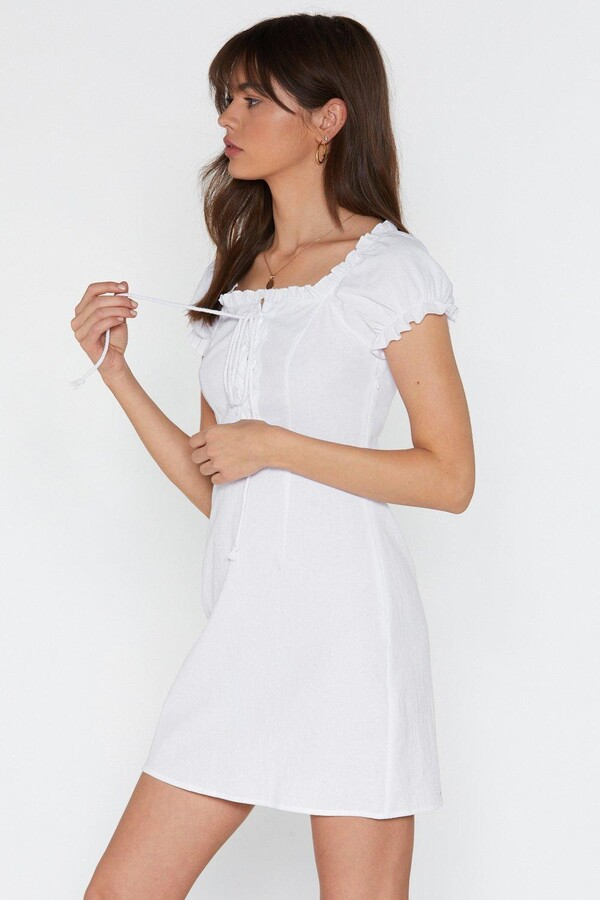 Thumbnail for your product : Nasty Gal Womens Puff Sleeve Lace Up Mini Summer Dress