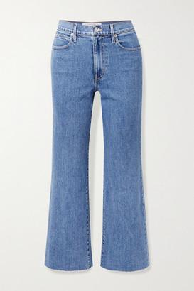 SLVRLAKE Grace Cropped Frayed High-rise Wide-leg Jeans - Mid denim