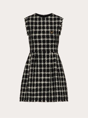 Valentino Sleeveless Round Neck Tweed Mini Dress