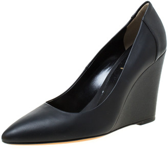 Fendi Black Leather Pointed Toe Wedge Pumps Size 39