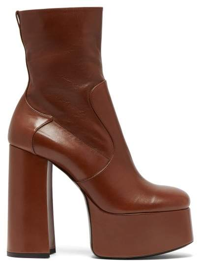 Saint Laurent Billy Leather Ankle Boots - Womens - Tan