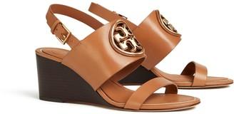 Tory Burch Miller Metal-Logo Wedge Sandal, Leather