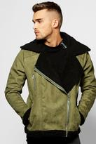 Boohoo Suedette Aviator Jacket Fully Borg Lined