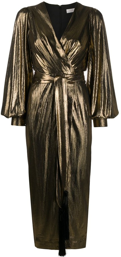 Borgo de Nor Metallic Wrap Midi Dress
