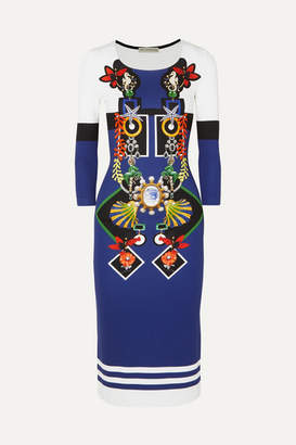 Mary Katrantzou Katkat Printed Stretch-jersey Dress - Blue