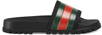 Gucci Men's Web rubber slide sandal
