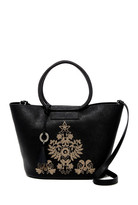 Badgley Mischka Leather Cage Shopper & Pouch