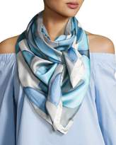 Anna Coroneo Silk Chiffon Square Floral Canopy Scarf, Light Blue