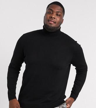 ASOS DESIGN Plus roll neck sweater in black