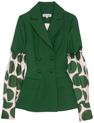 Dice Kayek Puff Sleeve Combo Jacket in Emerald