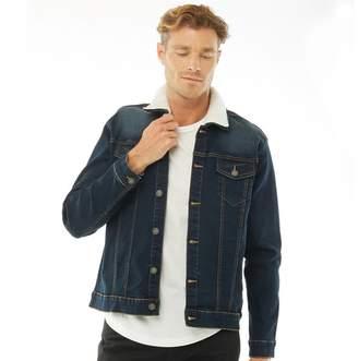 French Connection Mens Denim Borg Collar Jacket Dark Wash