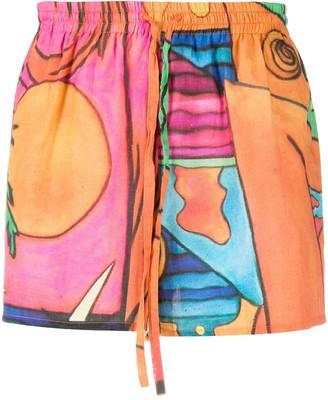 Esteban Cortazar Beach-Print Drawstring Shorts