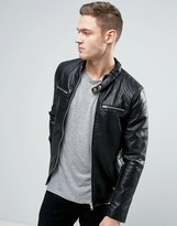 Pull&bear Faux Leather Biker Jacket With Zips In Black