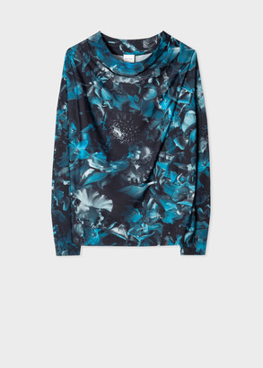 Paul Smith Women's Blue 'Floral Photo' Cowl Neck Top