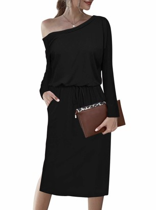 Moyabo Womens Long Sleeve Off Shoulder Dresses for Plus Size Women Tunic Loose Dress with Pockets Black XX-Large