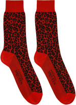 Alexander McQueen Red Leopard Socks