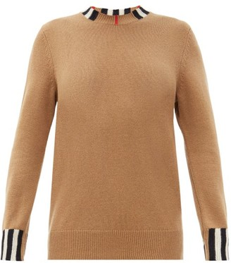 Burberry Eyre Icon-striped Cashmere Sweater - Womens - Beige