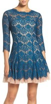 Betsy & Adam Women's Cutout Back Lace Fit & Flare Dress