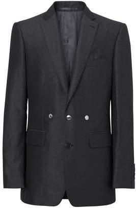 Burberry English Fit Triple Stud Silk Linen Tailored Jacket