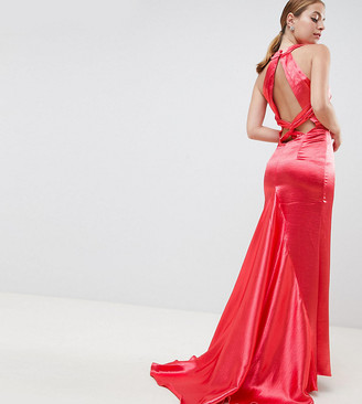 Jarlo Petite High Neck Fishtail Maxi Dress With Strappy Open Back Detail-Red