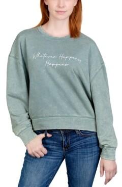 Rebellious One Juniors' Whatever Happens Weathered Graphic Sweatshirt