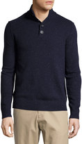 Neiman Marcus Speckled Mock-Neck Sweater, Blue Night