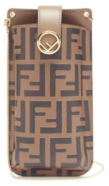 Fendi Ff-logo Print Leather Phone Pouch - Black Brown
