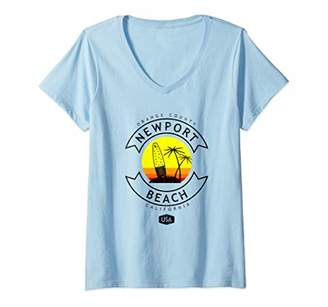 Womens Newport Beach California Surf V-Neck T-Shirt