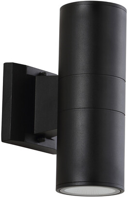 Jonathan Y Designs Duo 9.75In Cylinder Outdoor Metal Glass Integrated Led Sconce With Uplight