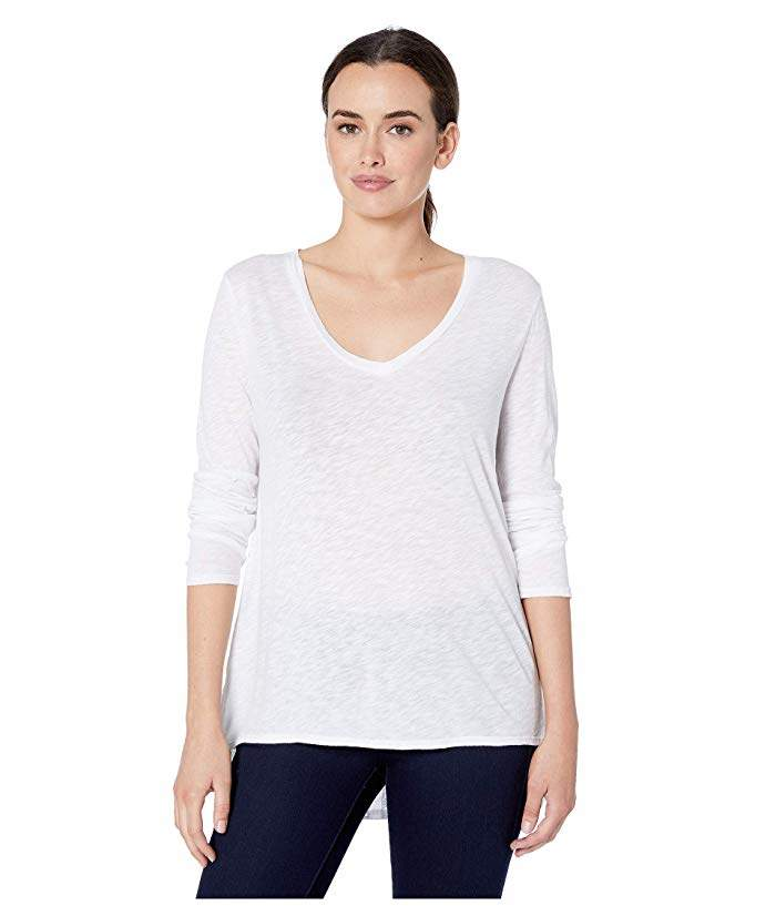 1787bf8e6 Dylan by Long Sleeve V-Neck Tee Knit Front with Eyelet and Embroidery Back