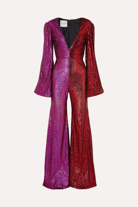 Halpern Two-tone Sequined Tulle Jumpsuit - Pink