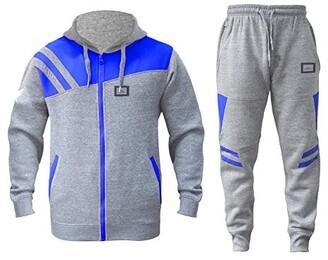 shelikes Mens Tracksuit Joggers Sweatshirt Hoodie HNL Design Jog Pants Cuffed Fleece Cotton Trousers Set