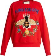 Gucci Bee and floral-appliqué cotton sweatshirt