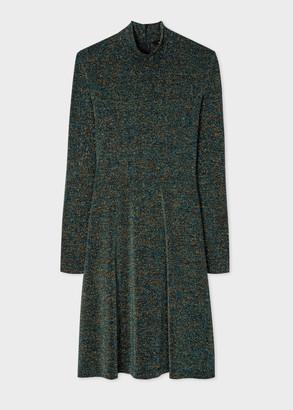 Women's Dark Petrol Glitter Funnel Neck Dress