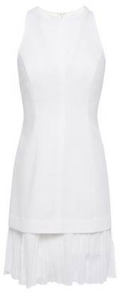 Cinq à Sept Catriona Pleated Georgette-paneled Crepe Mini Dress