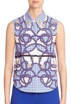 Mary Katrantzou Hoyston Rope Embellished Stretch-Cotton Top
