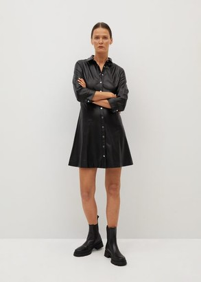 MANGO Faux-leather shirt dress black - 2 - Women
