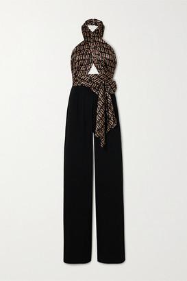 Seren - Mimi Cutout Printed Silk-satin And Crepe Halterneck Jumpsuit - Black