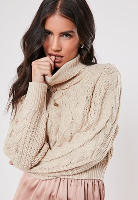 Missguided Stone Roll Neck Crop Cable Knit Jumper