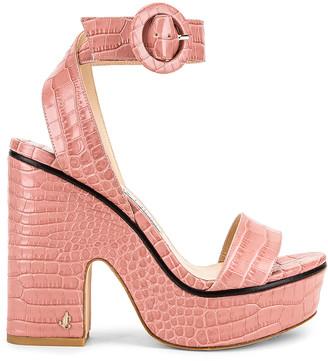 Jimmy Choo Aimee 125 Croc Embossed Sandal in Blush | FWRD
