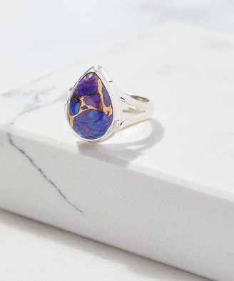 Ys Gems YS Gems Women's Rings Purple - Purple Copper Turquoise & Sterling Silver Teardrop Ring