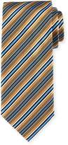 Brioni Framed-Stripe Silk Tie, Gold