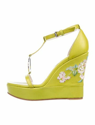 Christian Dior Leather Floral Print T-Strap Sandals Green