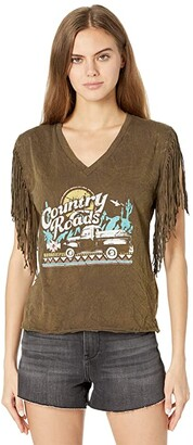 Rock and Roll Cowgirl Short Sleeve T-Shirt Knit Top with Self Fringe Sleeves 49T8375