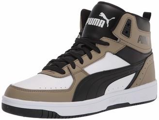 Puma Men's Rebound Joy Sneaker White Black-Covert Green 11.5 M US