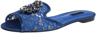 Dolce & Gabbana Blue Lace Jeweled Embellishment Flat Slides Size 35.5