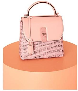 Salvatore Ferragamo Boxyz Weaving Convertible Satchel (Antique Rose) Handbags